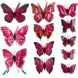 3D Vlinders Assori Roze