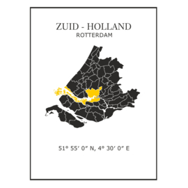 Muursticker Provincie Zuid-Holland / gemeentes