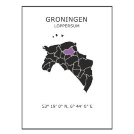 Muursticker Provincie Groningen / gemeentes