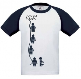Kids Baseball T-shirt Minifig  navy blue wit met jouw naam