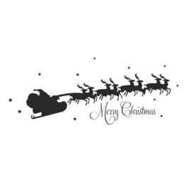 Muursticker Kerstman met slee
