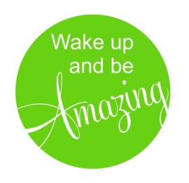 Muursticker  Button Wake up Amazing