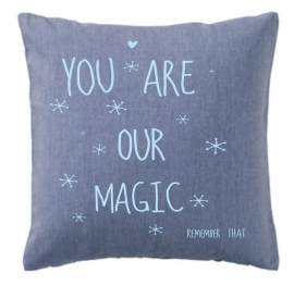 Kussenhoes Blauw You are our Magic