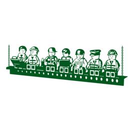 Muursticker Lego - Lunch op de wolkenkrabber