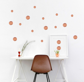 Muursticker Polka Dots - Rosé Gold Glans