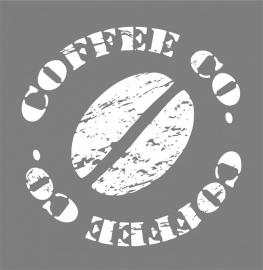 Muurtekst Koffie Stempel