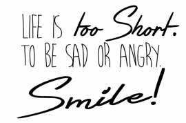 Muursticker Life is too Short ....Smile