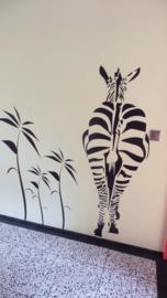 Muursticker Zebra en Tree leaves
