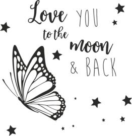 Love to the Moon... Vlinder 70 x 70 cm