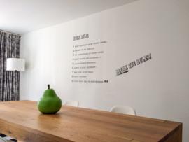 Muursticker House rules, eigen tekst klant