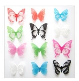 3D Vlinders assorti transparant