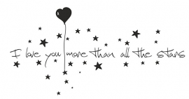 Muursticker I love you more than the stars