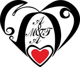 Hart met initialen kleur Black / hart rood 120 cm breed x 100 cm hoog