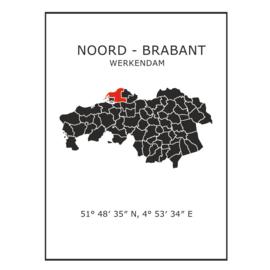 Muursticker Provincie Noord-Brabant / gemeentes