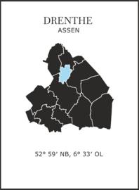 Muursticker Provincie Drenthe / gemeentes