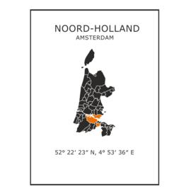 Muursticker Provincie Noord-Holland / gemeentes