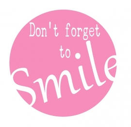 Muursticker  Button Don't forget to Smile