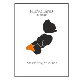 Muursticker Provincie Flevoland / gemeentes