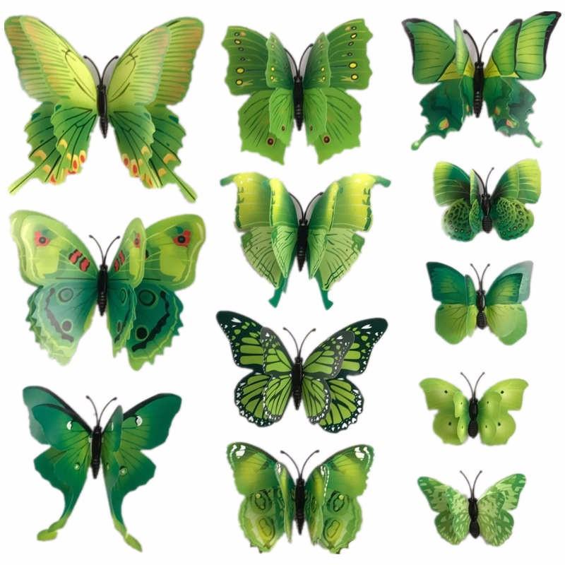 3D Vlinders Assorti Groen