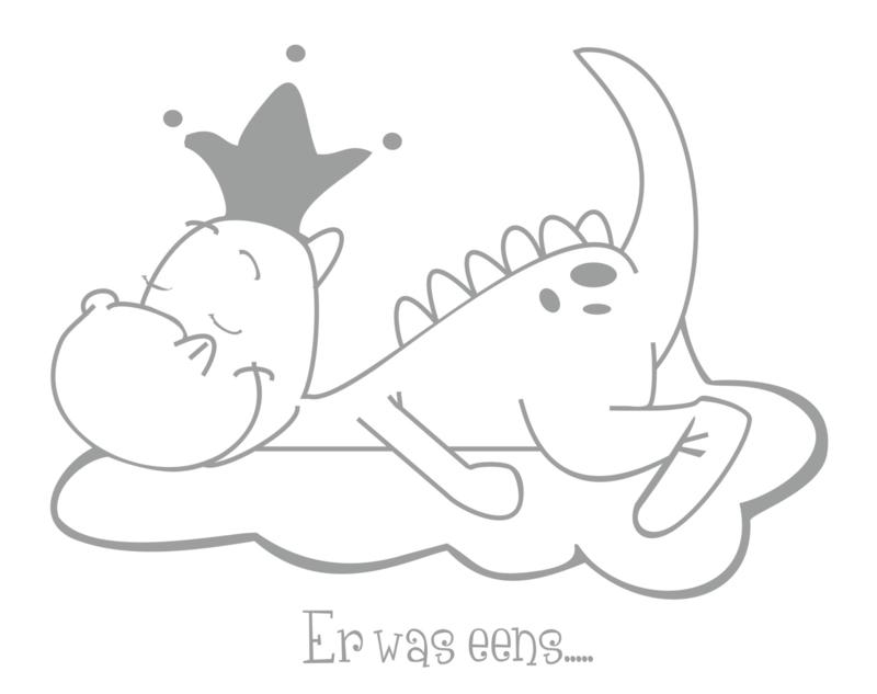 Onwijs Dirk het Draakje met kroon | Muurstickers Babykamer & Kinderkamer BI-15