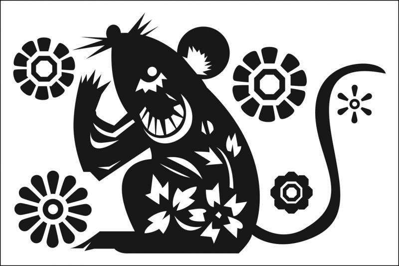 MUURSTICKER Flowermouse