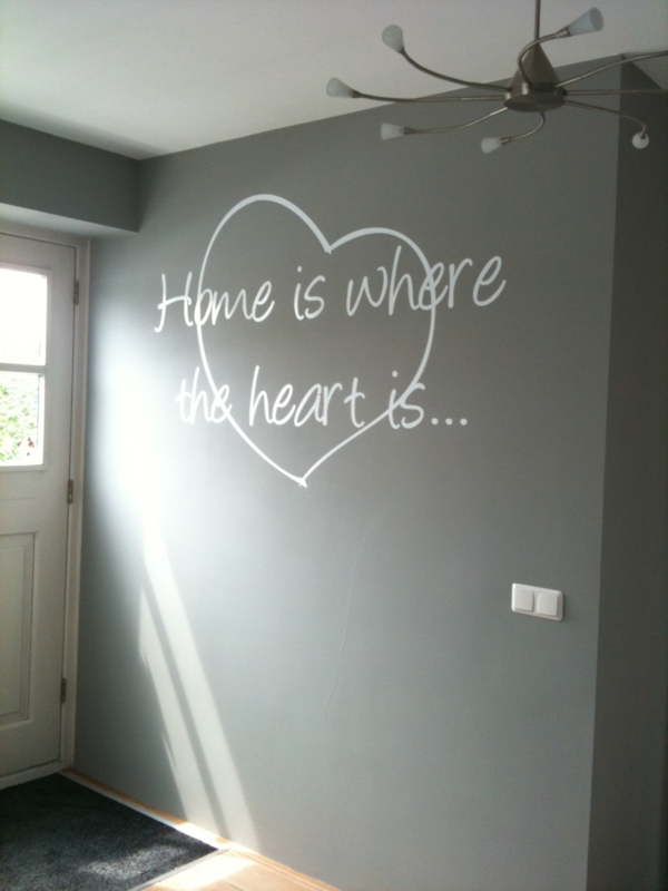 Muursticker Home is where the hart is