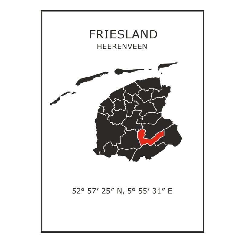 Muursticker Provincie Friesland / gemeentes
