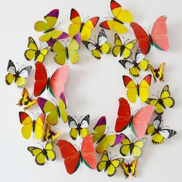 3D Vlinders Assorti Geel