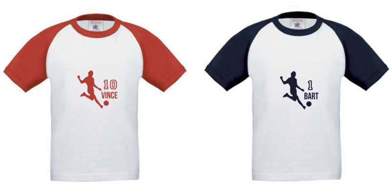 Bedrukt voetbal shirt met eigen naam en nummer