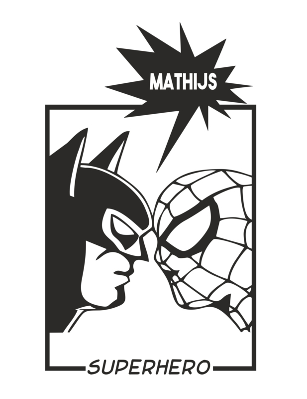 Naamsticker Spiderman VS Batman