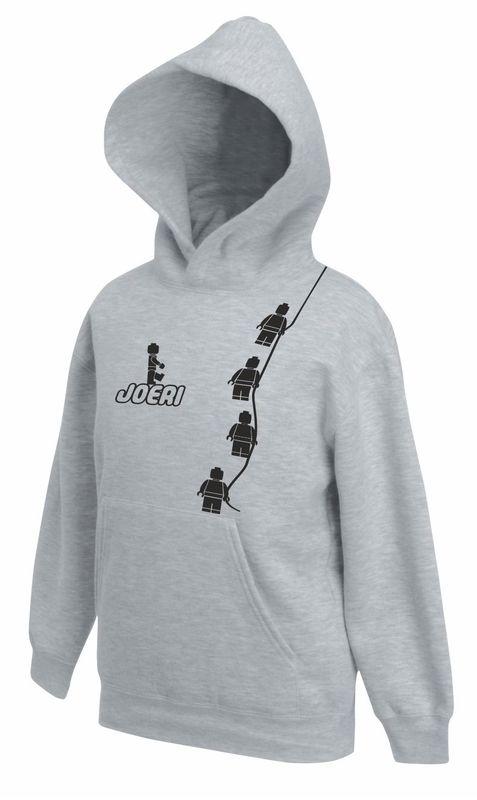 Kids Sweater Minifig  Grey met jouw naam