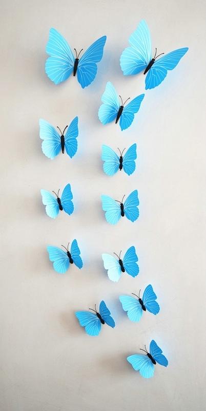 3D Vlinders  Blauw
