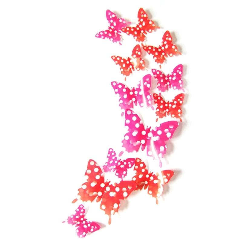 3D Vlinders roze / rood dots
