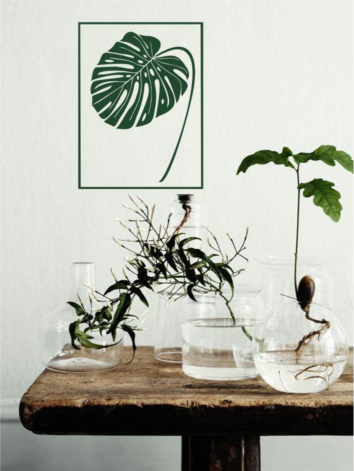 Muursticker gatenplant