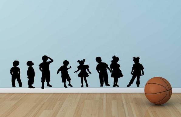 Muursticker Spelende kinderen, muursticker playing kids