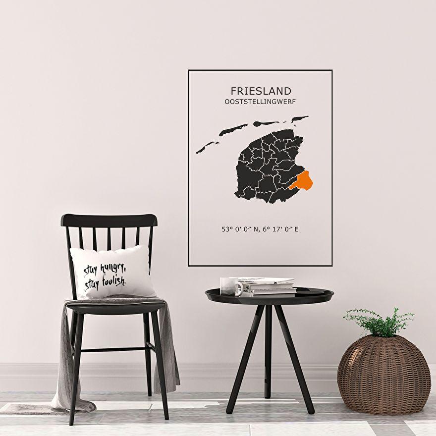Muursticker Kaart Friesland