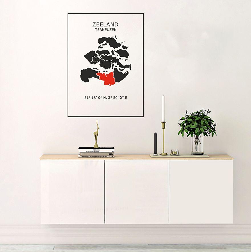 Muursticker Kaart Zeeland