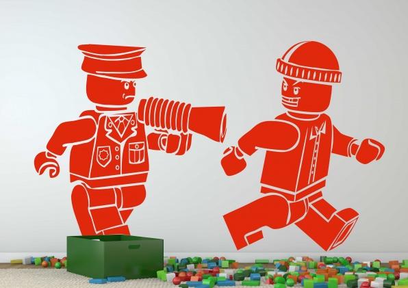 Lego muursticker Politie & Boef