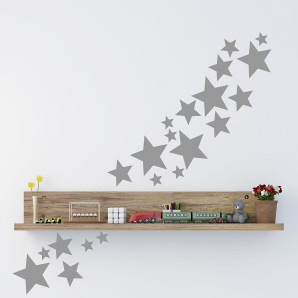 muursticker sterren 25 stuks, muursticker sterren, muursticker ster, muursticker kinderkamer