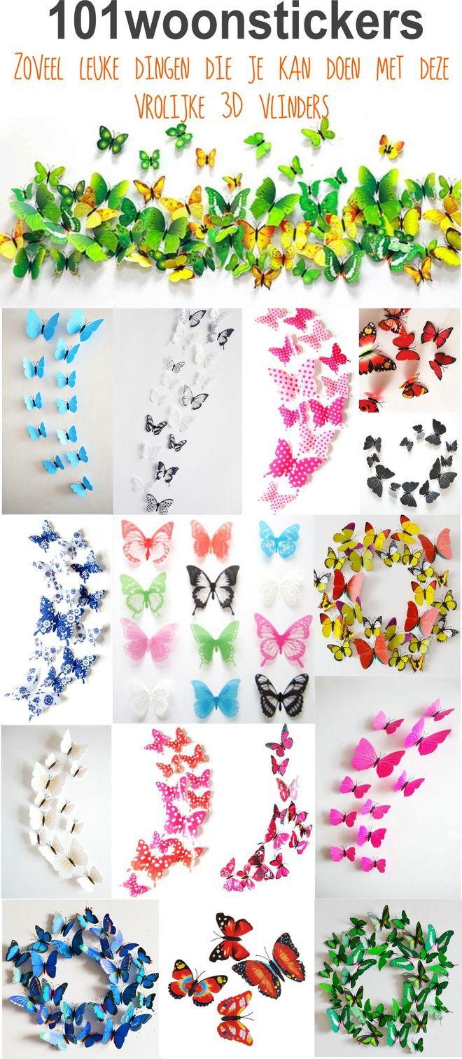 3D vlinders-muursticker vlinders