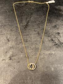 14krt bicolor gouden collier met zirconia