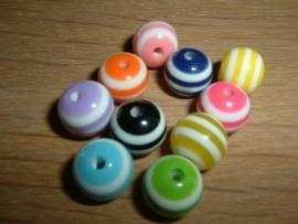 10 Stuks mooie gekleurde ronde kralen