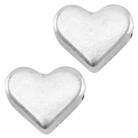 Metalen kraal DQ hart Antiek zilver (nikkelvrij)