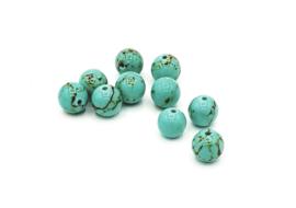 10 Stuks turquoise natuursteen groen 8mm.