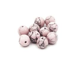 10 Stuks turquoise natuursteen kralen vintage roze 8mm.