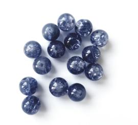 15 stuks donkerblauwe crackle kralen 8 mm.