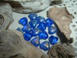 15 Stuks kleine donkerblauwe hartjes met een mooie glans
