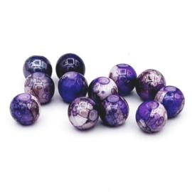 30 Stuks mooie gemêleerde paars/blauw glaskralen 8 mm.