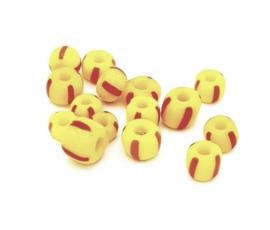 Kleine handelskraaltjes in geel met rode streepjes