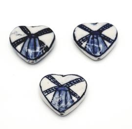 Mooie Delfsblauwe kralen in de vorm van een hartje